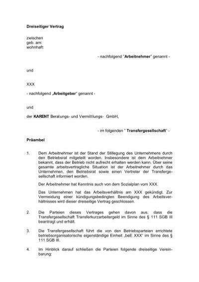 muster eines dreiseitigen vertrages pdf karent - Lizenzvertrag Muster