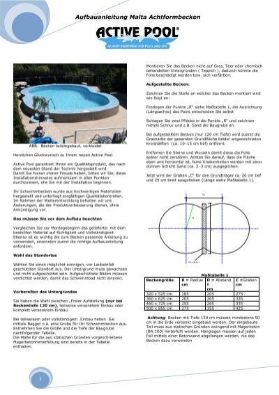 Aufbauanleitung malta achtformbecken 1 active pool for Aufbauanleitung pool stahlwand