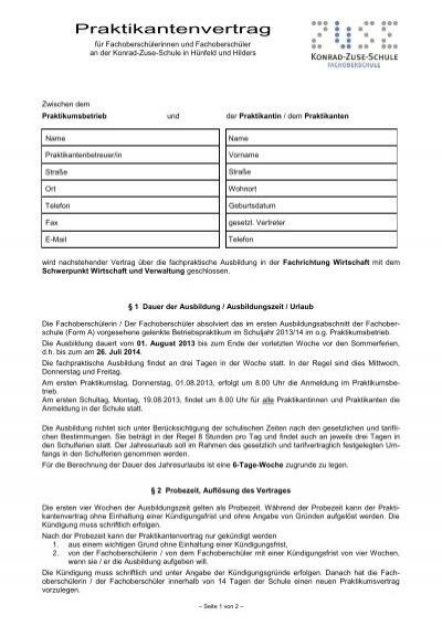 Praktikanten Vertrag Wirtschaft 13 14pdf Konrad Zuse Schule
