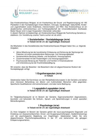 1 Sozialarbeiter / Sozialpädagoge (m/w) - Kreiskrankenhaus ...