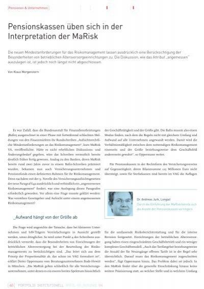 Pensionskassen üben Sich In Der Interpretation Der Marisk Longial