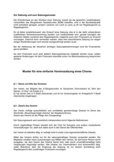 muster einer vereinssatzung chorverband nrw ev - Muster Vereinssatzung