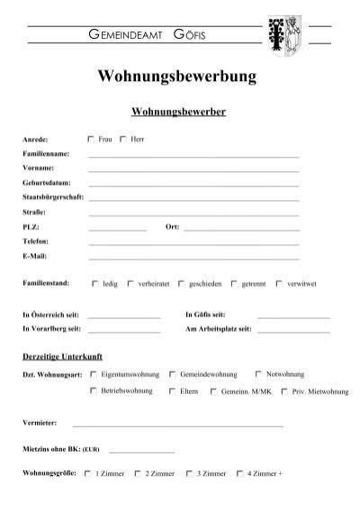 wohnungsbewerbung magazine - Wohnung Bewerbung