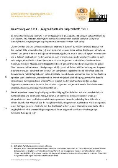Arbeitsblätter für den Unterricht Sek. II. Das Privileg von 1111