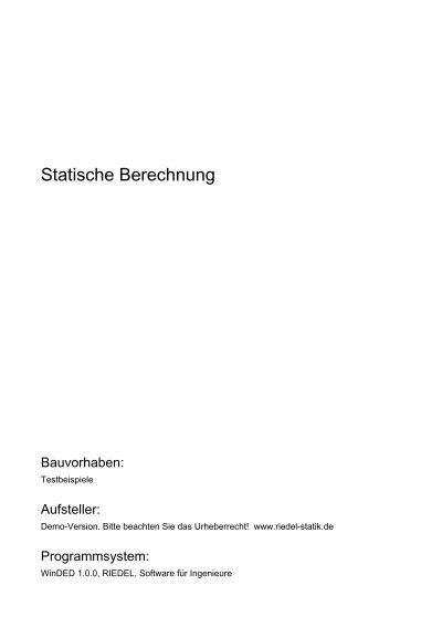 Inhaltsverzeichnis blatt - Statische berechnung dachstuhl ...