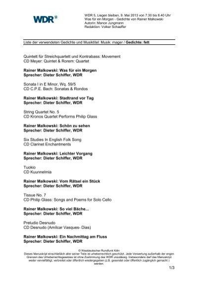 Liste Der Gesendeten Gedichte Und Musiktitel Wdr 5