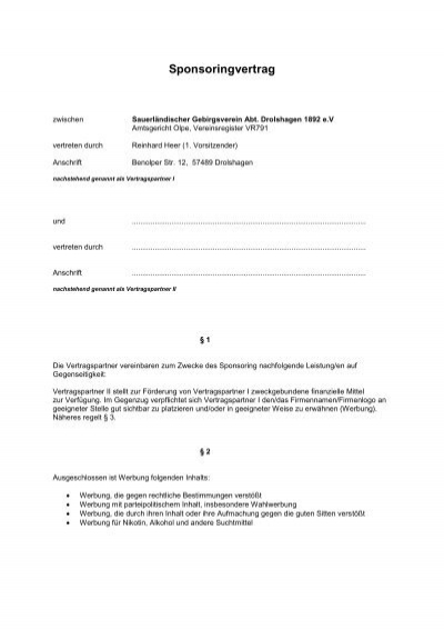 muster sponsoringvertrag sgv abteilung drolshagen 1892 - Sponsoringvertrag Muster