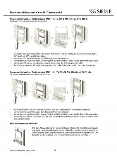 namensschildwechsel vario 511 tastenmodul siedle. Black Bedroom Furniture Sets. Home Design Ideas