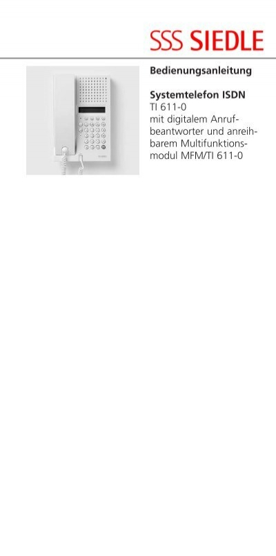 ti 611 0 isdn telefon bedienungsanleitung siedle. Black Bedroom Furniture Sets. Home Design Ideas