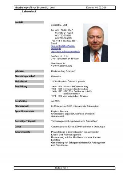 lebenslauf deutsch software projectde - Wwwlebenslaufde