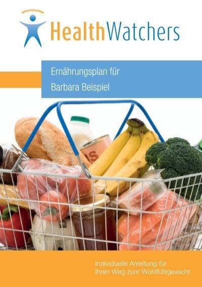 healthwatchers beispiel ernhrungsplan - Ernahrungsplan Beispiel