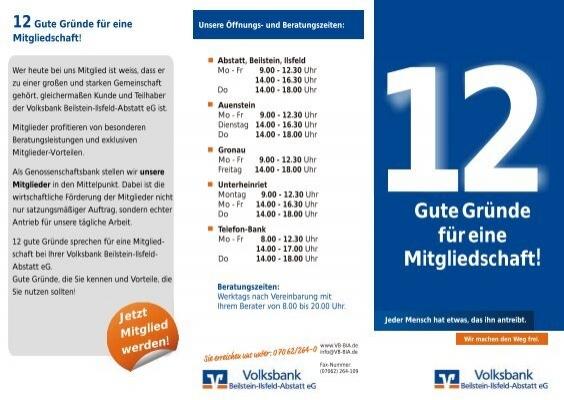 Nachlesen Im 12 Gute Gründe Flyer Volksbank Beilstein Ilsfeld