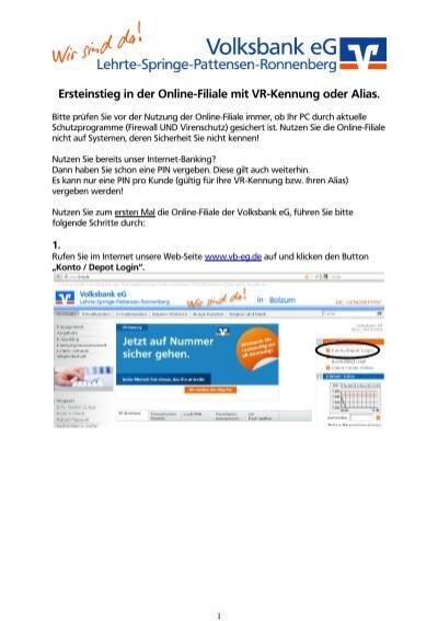 Ersteinstieg Online Filiale Mit Vr Kennung Volksbank Eg