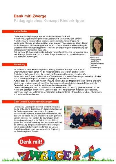 Denk Mit Zwerge Pädagogisches Konzept Kinderkrippe