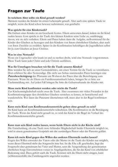 Fragen Zur Taufe Pdf St Johannis