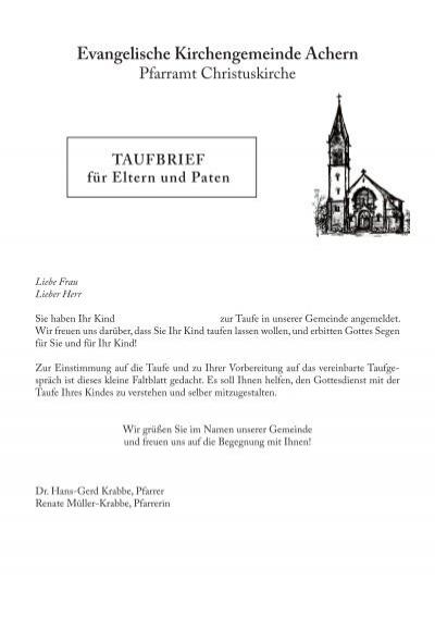 Evangelische Taufe Paten Anzahl