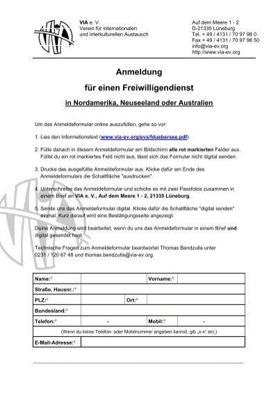 Anmeldeformular Online Ausfüllen Via E V