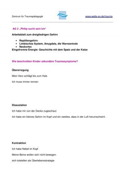 www.welle-ev.de/trauma AG 2 ?Philip sucht sein Ich? Arbeitsblatt ...