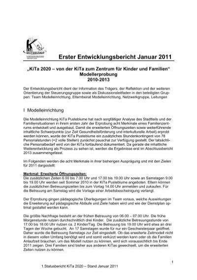 Erster Entwicklungsbericht Januar 2011 Weiterstadt