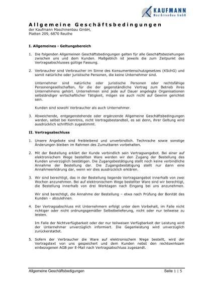 Allgemeine Geschäftsbedingungen Kaufmann Maschinenbau Gmbh