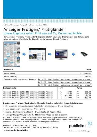Angebot Anzeiger Frutigen Frutigländer Publicitas Ag