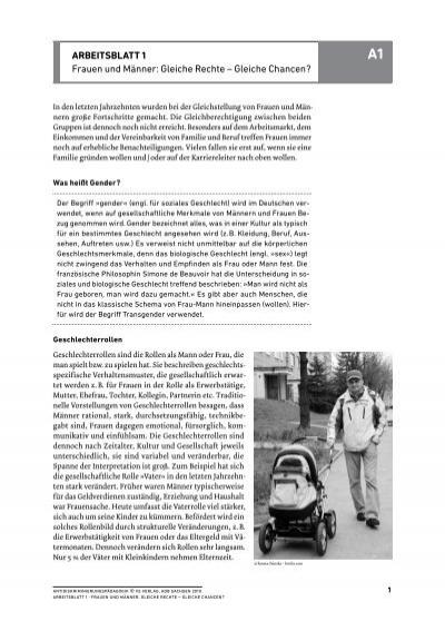 ArbeitsblAtt 1 Frauen und Männer: Gleiche Rechte – Gleiche ...