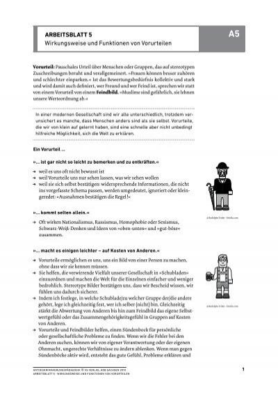 ArbeitsblAtt 5 Wirkungsweise und Funktionen von Vorurteilen