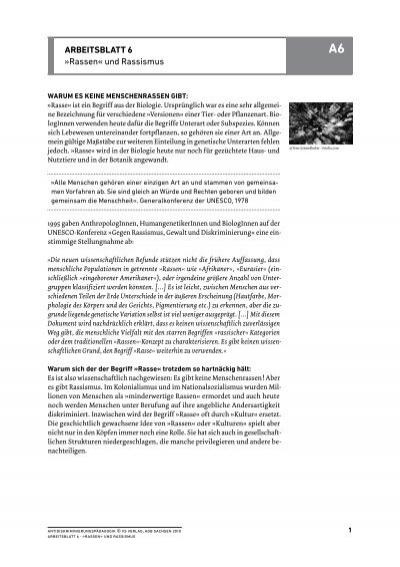 ArbeitsblAtt 6 » Rassen« und Rassismus
