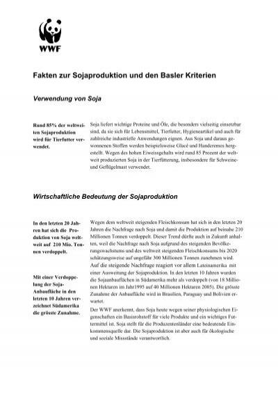 Fakten zur Sojaproduktion und den Basler Kriterien - WWF Schweiz