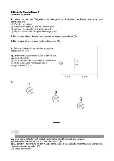 1. Kontrolle Physik Klasse 6 Licht und Schatten 1. Nenne zu den vier ...