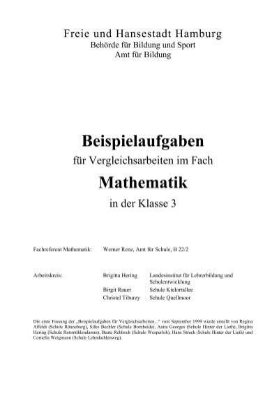 Beispielaufgaben für Vergleichsarbeiten in Klasse 3 - Hamburger ...