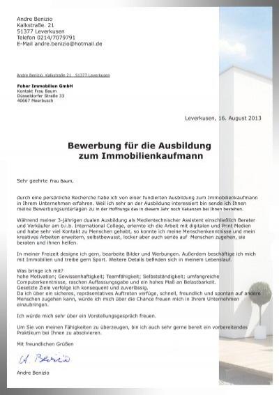 andre benizio kalkstrae - Immobilienkaufmann Bewerbung