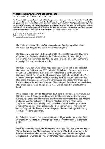 Probezeitkündigunganhörung Des Betriebsrats