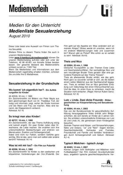 Medienliste Sexualerziehung August 2010 Landesinstitut Für