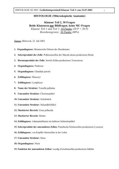 HISTOLOGIE (Mikroskopische Anatomie) Klausur Teil 2, 30 Fragen ...