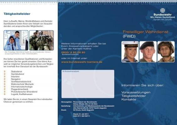 flyer freiwilliger wehrdienst bundeswehr karriere - Bundeswehr Freiwilliger Wehrdienst Bewerbung
