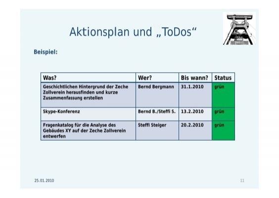 "Aktionsplan und ""ToDos"
