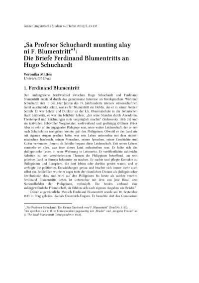 Sa Profesor Schuchardt Munting Alay Ni F Blumentritt Hugo