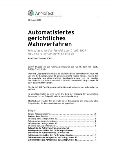 Automatisiertes Gerichtliches Mahnverfahren Annotext