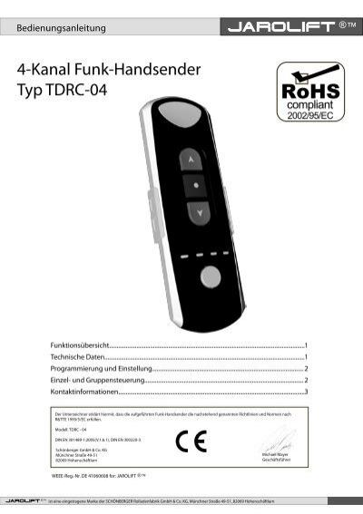 Funkhandsender TDRC 04-4-Kanal Handsender Funk JAROLIFT