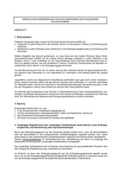 Merkblatt für die ordentliche Einbürgerung Biel