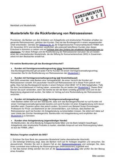 Musterbriefe Für Die Rückforderung Von Retrozessionen Stiftung Für