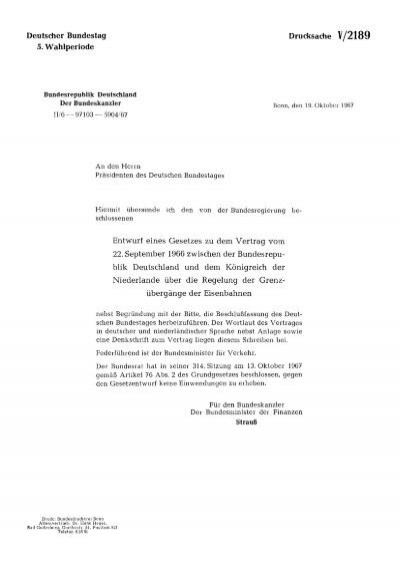 Entwurf Eines Gesetzes Zu Dem Vertrag Vom 22 September 1966