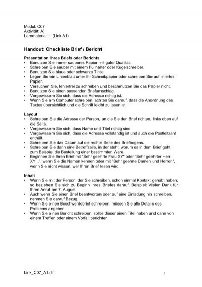 Handout Checkliste Brief Bericht Aktionbildung
