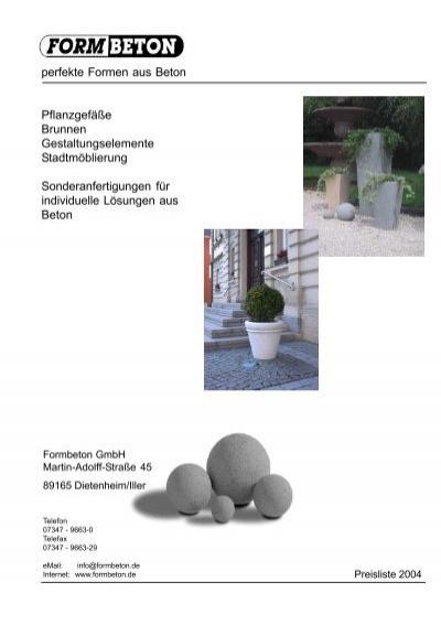 perfekte Formen aus Beton Pflanzgefäße ... - Formbeton GmbH