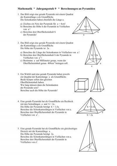 Mathematik Klasse 9b Berechnungen An Pyramiden
