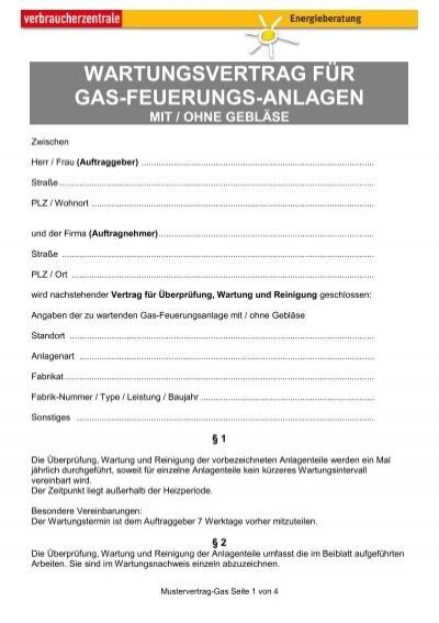Muster wartungsvertrag f r gasheizungsanlagen for Mal muster fur wande