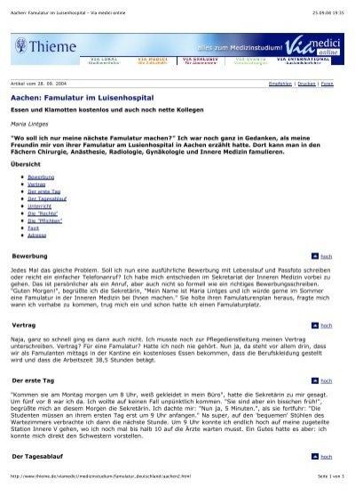 aachen famulatur im luisenhospital via medici online - Bewerbung Famulatur