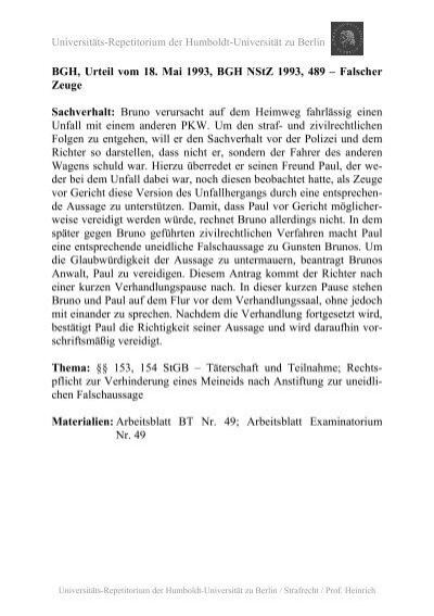 C. Strafbarkeit gem. §§ 153, 154, 27, 13 StGB - unirep - Humboldt ...