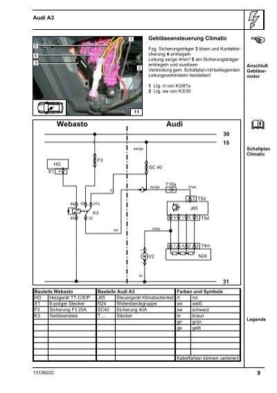 Wasser-Heizgerät Einbaudokumentation Audi A3